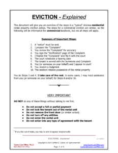 This document explains the steps in a typical eviction action.